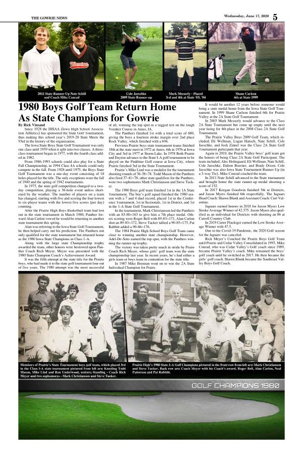 History of Area High School Golf