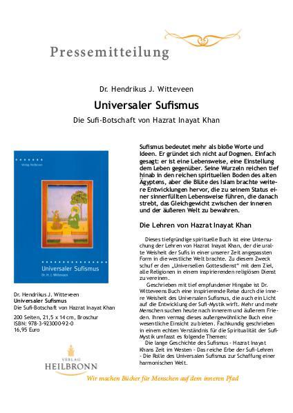 Verlag Heilbronn - Pressemitteilungen Universaler Sufismus (Pressemitteilung)