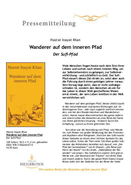 Verlag Heilbronn - Pressemitteilungen Wanderer auf dem inneren Pfad (Pressemitteilung)