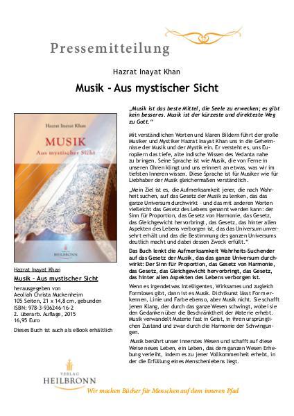 Verlag Heilbronn - Pressemitteilungen Musik - Aus mystischer Sicht von Hazrat I. Khan