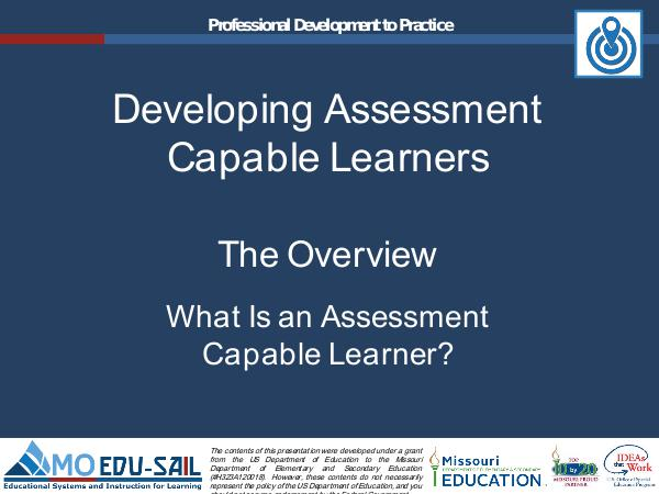 MO EDU-SAIL Learning Packages Developing Assessment Capable Learners Overview