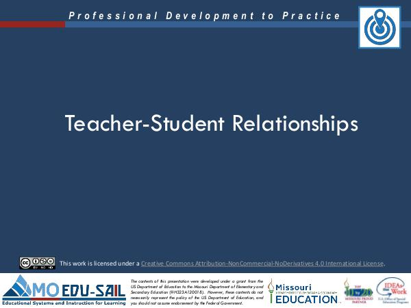 MO EDU-SAIL Learning Packages Teacher-Student Relationships