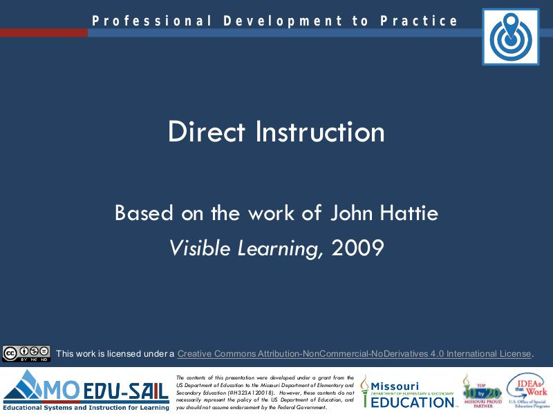 MO EDU-SAIL Learning Packages Direct Instruction