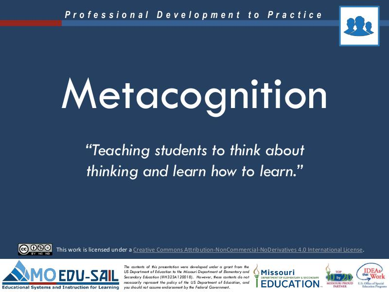 MO EDU-SAIL Learning Packages Metacognition