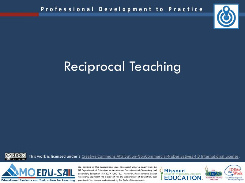 MO EDU-SAIL Learning Packages Reciprocal Teaching