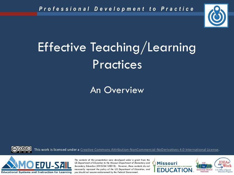 MO EDU-SAIL Learning Packages Effective Teaching/Learning Practices