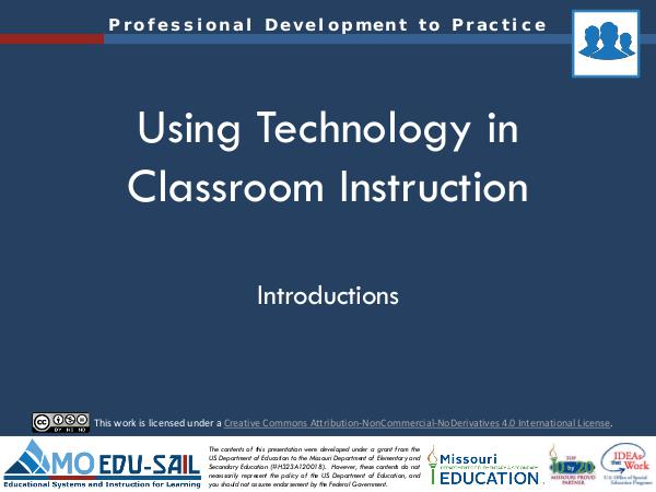 MO EDU-SAIL Learning Packages Using Technology in Classroom Instruction