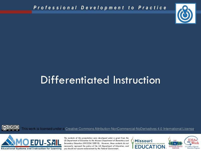 MO EDU-SAIL Learning Packages Differentiated Instruction
