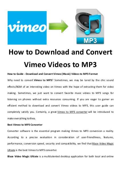How to Download and Convert Vimeo Videos to MP3