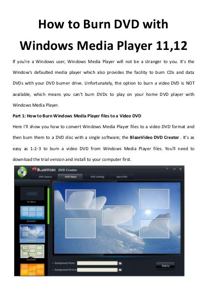 How to Burn DVD with Windows Media Player 11,12