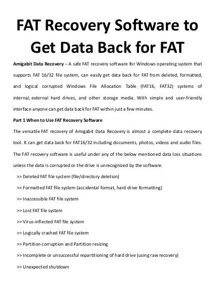 FAT Recovery Software to Get Data Back for FAT
