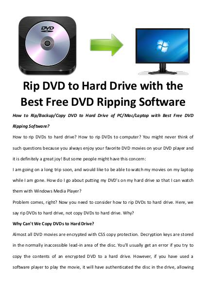 Multimedia Software Rip dvd to hard drive
