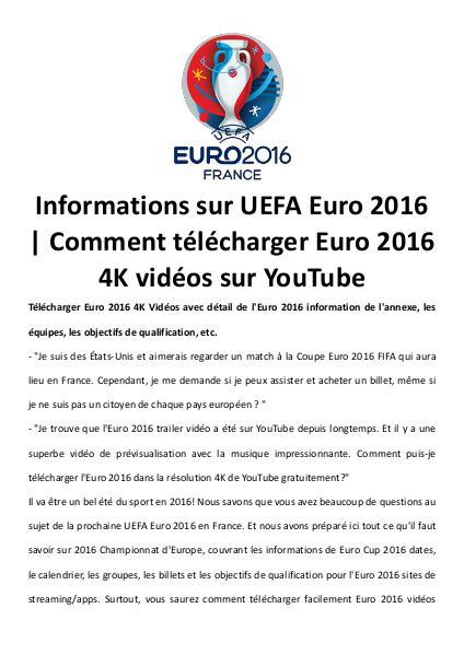 Multimedia Software Télécharger uefa euro 2016 vidéos 4 k sur youtube