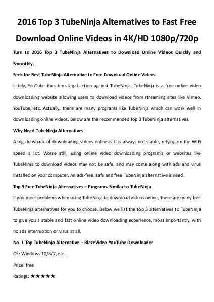 Multimedia Software Top 3 tube ninja alternatives
