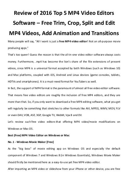 Multimedia Software Top 5 free mp4 video editors review