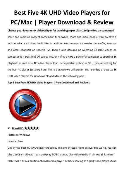 Multimedia Software Top 6 best 4k player