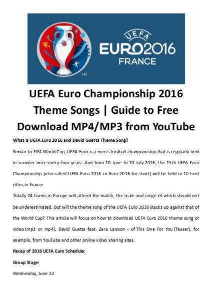 Multimedia Software Uefa euro theme songs videos free download