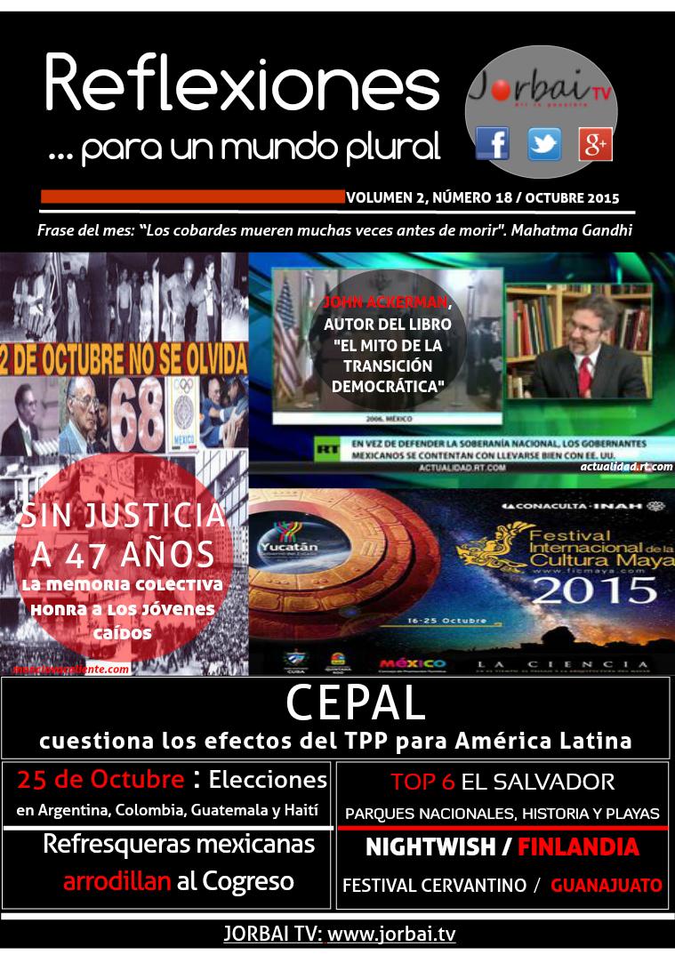 Reflexiones...para un mundo plural. Reflexiones Volumen 2, número 18 Octubre 2015