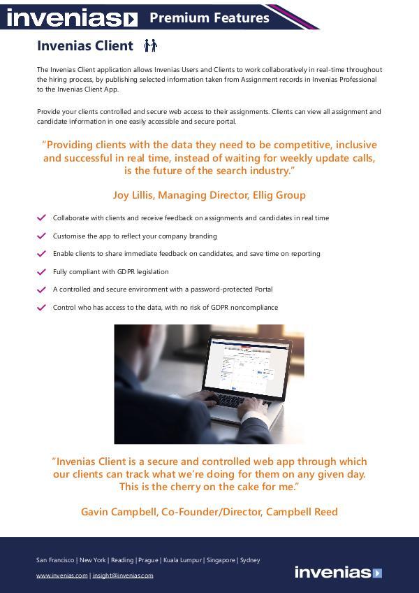 Invenias Client Datasheet Invenias Client Datasheet