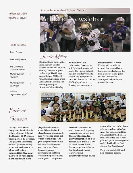 Austin ISD Athletic Newsletter November 2014