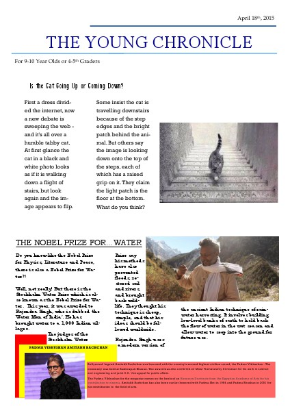 The Young Chronicle: For 4th Graders April 18th, 2015
