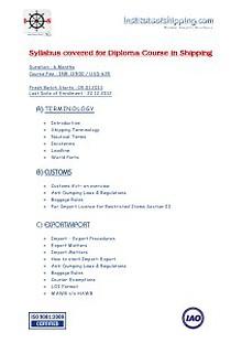 Syllabus - Diploma Courses