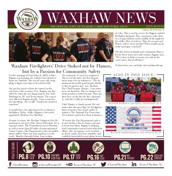 Waxhaw News - The Official Community Publication - Waxhaw, NC Waxhaw News July_August 2017