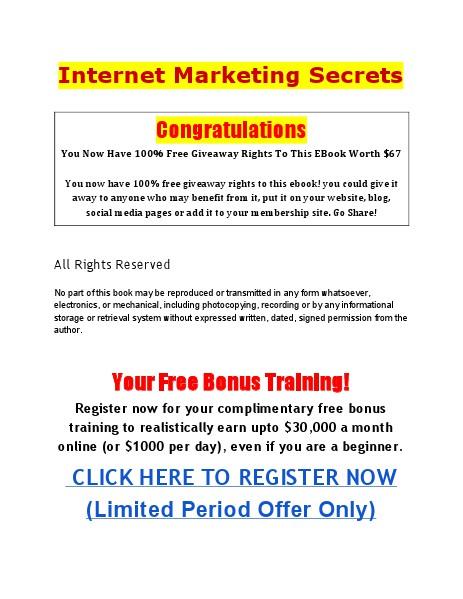 Internet Marketing Secrets Internet Marketing Secrets