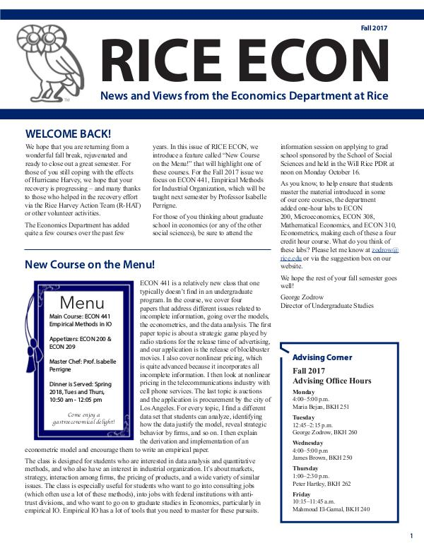 Rice Economics Fall 2017 Newsletter