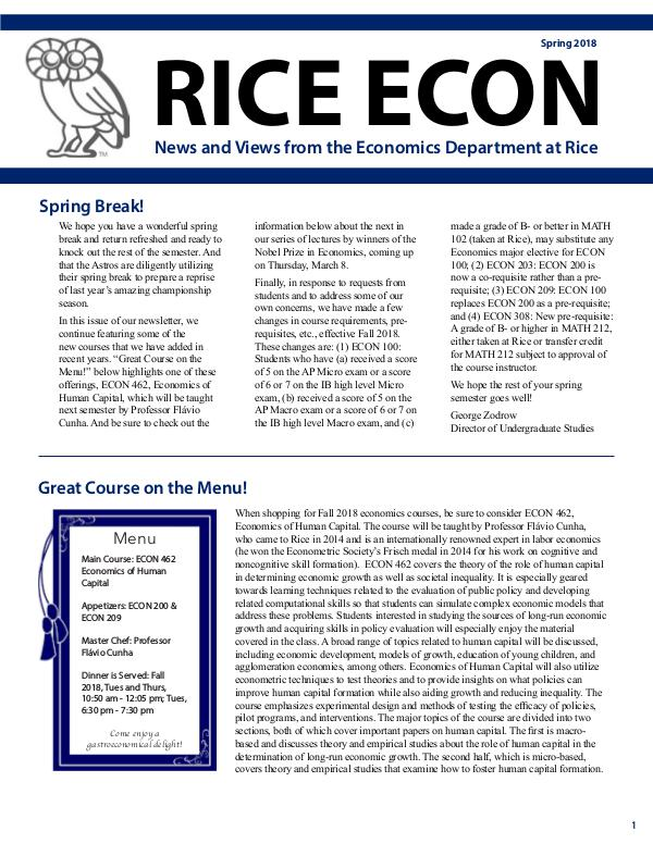 Rice Economics Spring 2018 Newsletter