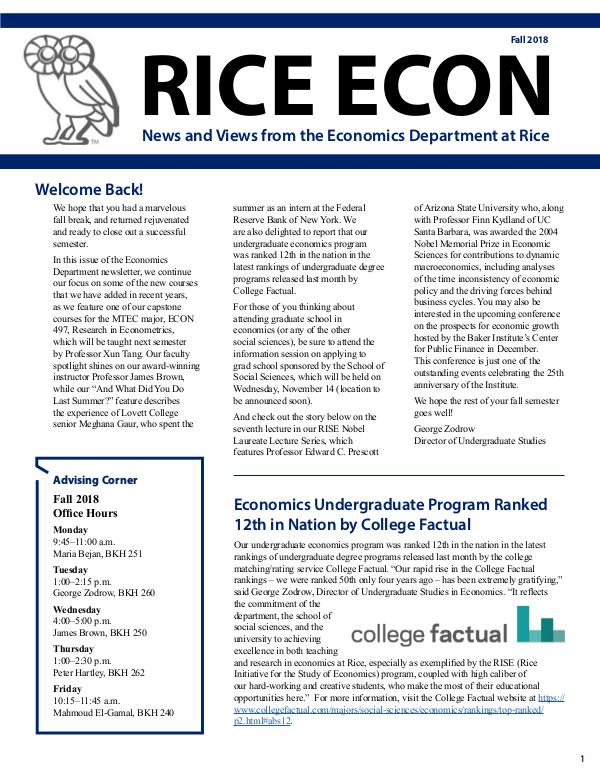 Rice Economics Fall 2018 Newsletter