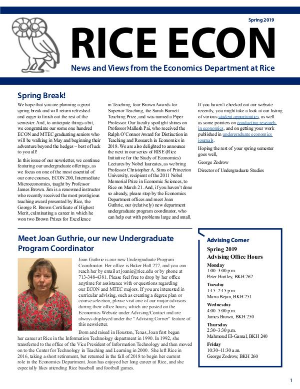Rice Economics Spring 2019 Newsletter
