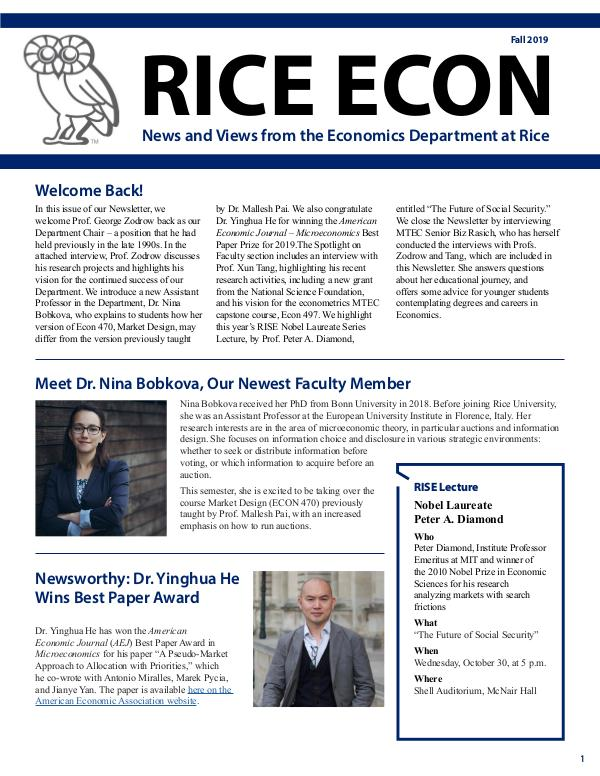 Rice Economics Fall 2019 Newsletter