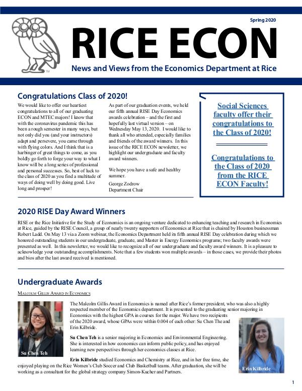 Rice Economics Spring 2020 Newsletter