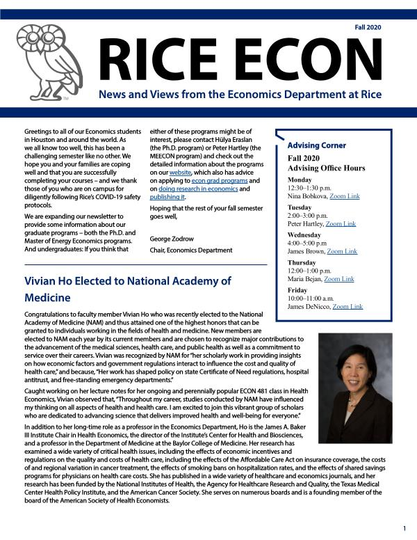 Rice Economics Fall 2020 Newsletter