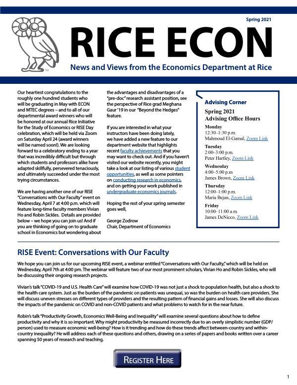 Rice Economics Spring 2021 Newsletter