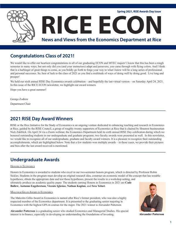 Rice Economics Spring 2021 RISE Awards Day