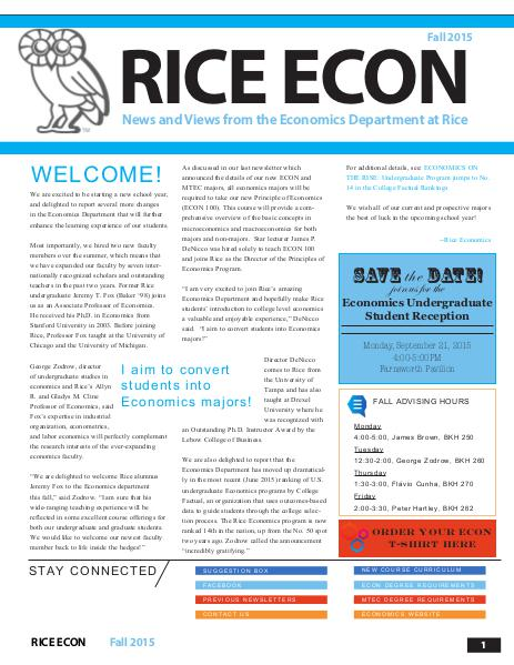 Rice Economics Fall 2015 Newsletter