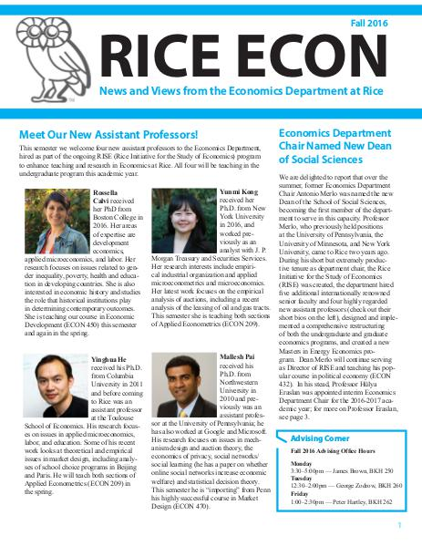 Rice Economics Fall 2016 Newsletter
