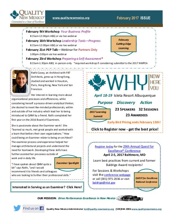 Quality New Mexico Newsletter Quality New Mexico February Newsletter