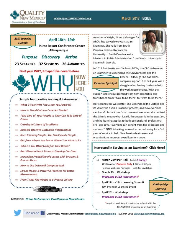 Quality New Mexico Newsletter Quality New Mexico Newsletter - March