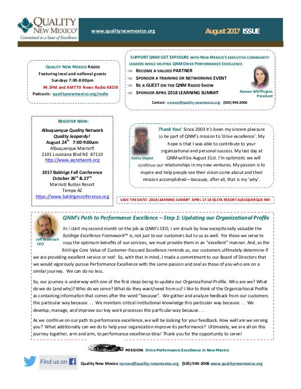 Quality New Mexico Newsletter QNM August 2017 Newsletter