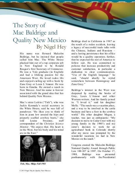 Quality New Mexico The Story of Malcolm Baldrige & QNM