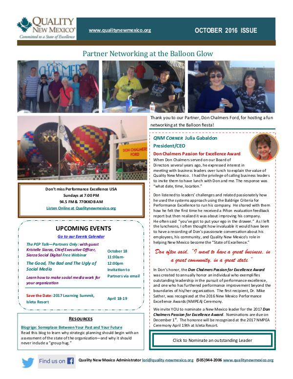 Quality New Mexico Newsletter QNM October Newsletter