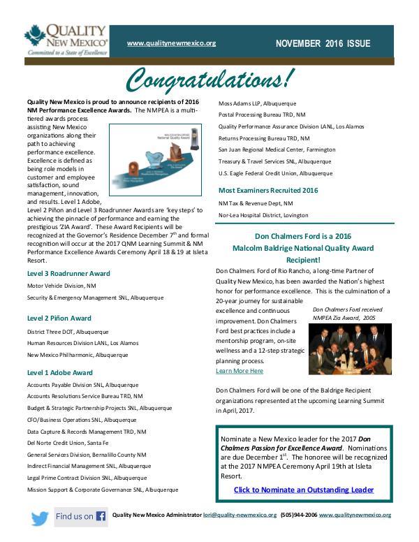 Quality New Mexico Newsletter November 2016