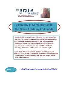 Biography of Mimi Rothschild, The Grace Academy Co-Founder