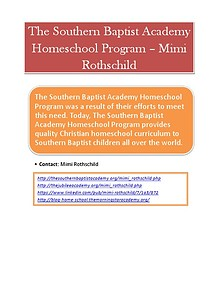 The Southern Baptist Academy Homeschool Program – Mimi Rothschild