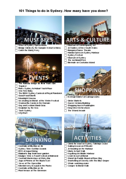 101 Things to do in Sydney Issue 1