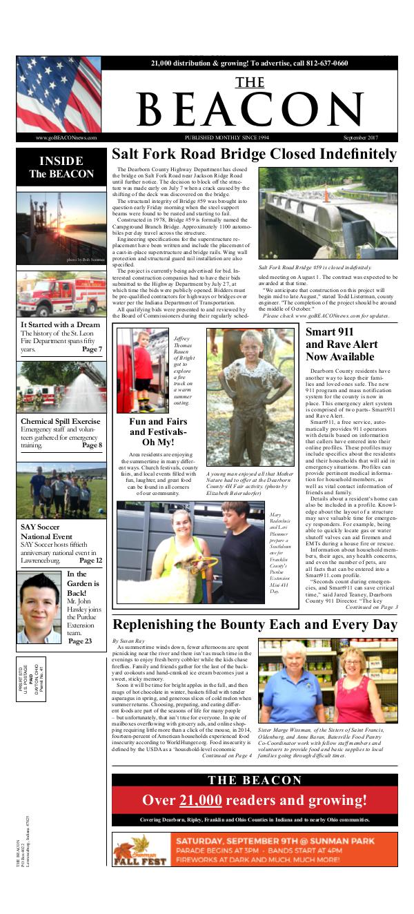 the BEACON Newspaper, Indiana Sept 2017 Beacon