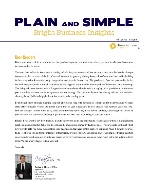 Plain and Simple: Bright Business Insights Spring 2019